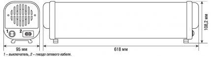 Габаритные размеры рециркулятора бактерицидного NUR-01